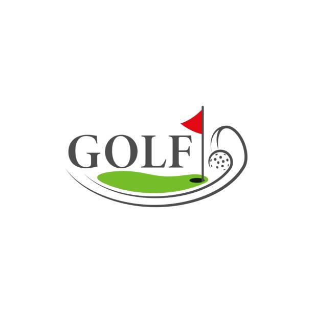 Golf logo template. The logo is designed in a minimalistic line style. Golf logo template. The logo is designed in a minimalistic line style. Vector Illustration golf logo stock illustrations