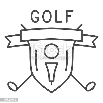 Golf logo with golfball and crossed sticks thin line icon, sport concept, Golf club emblem sign on white background, shield with golf ball on tee and clubs icon in outline style. Vector graphics
