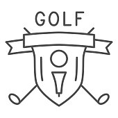 Golf logo with golfball and crossed sticks thin line icon, sport concept, Golf club emblem sign on white background, shield with golf ball on tee and clubs icon in outline style. Vector graphics.