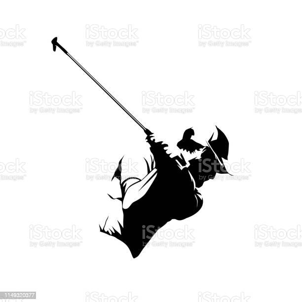 Golf Player Abstract Isolated Vector Silhouette Golf Swing Icon Stock Illustration - Download Image Now