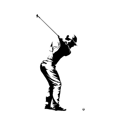 Golf player, abstract isolated vector silhouette. Golf swing icon