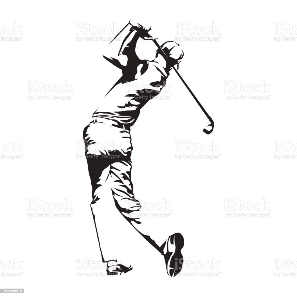 Jugador de golf, silueta de vector abstracto, bosquejo del golfista - ilustración de arte vectorial