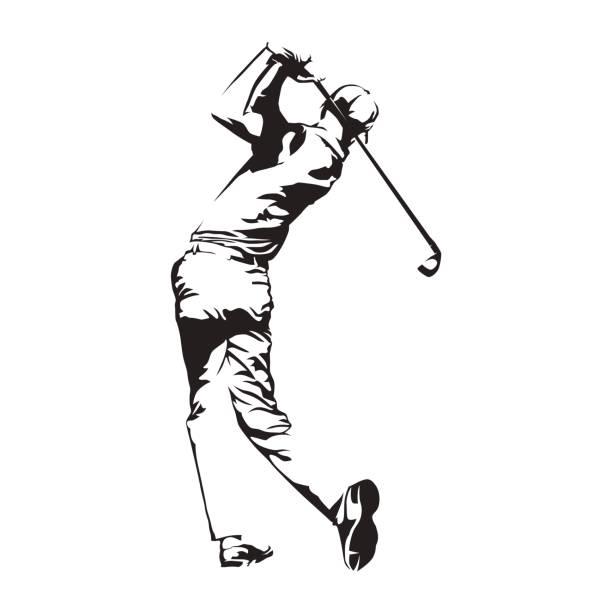 ゴルフ プレーヤー、抽象的なベクトル シルエット、ゴルファーのスケッチ - ゴルフ点のイラスト素材/クリップアート素材/マンガ素材/アイコン素材