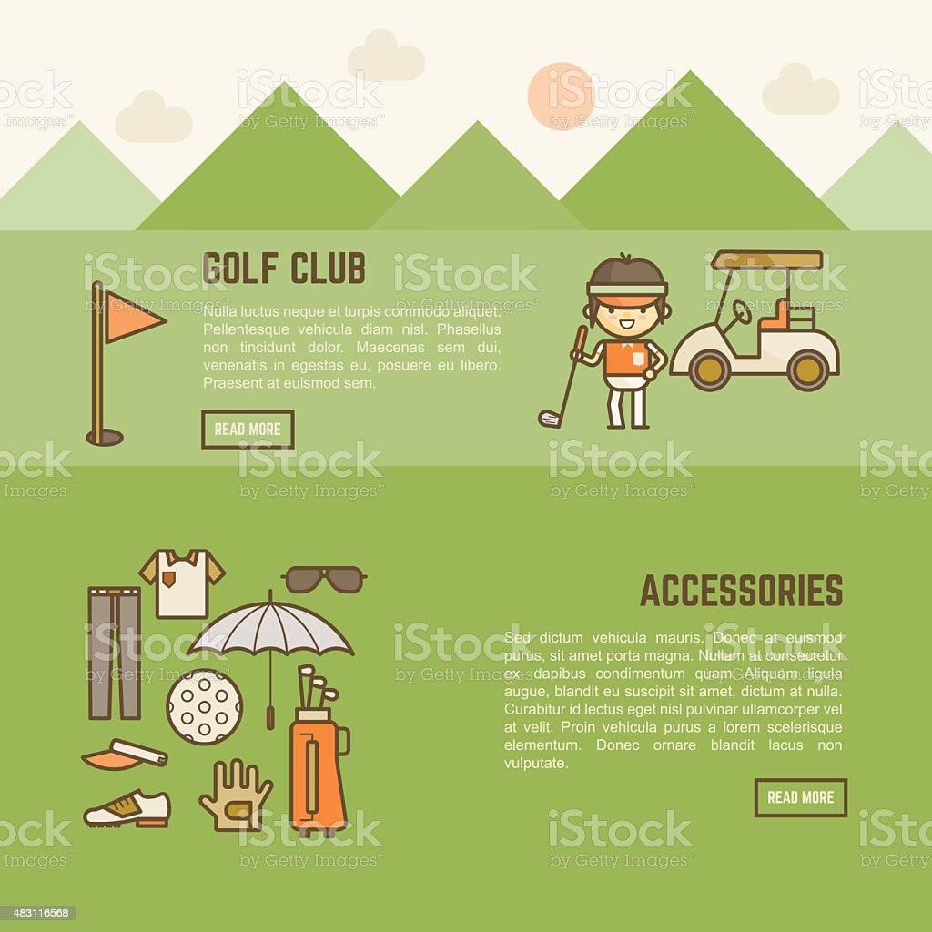 golf player and accessories banner vector art illustration
