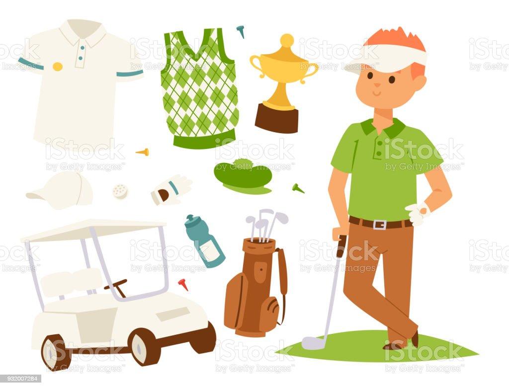 Ilustración de Ropa De Jugador De Golf Y Accesorios Golf Club ...