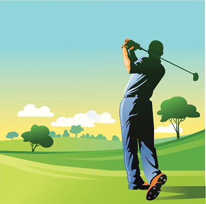Golf Player Hitting the Ball