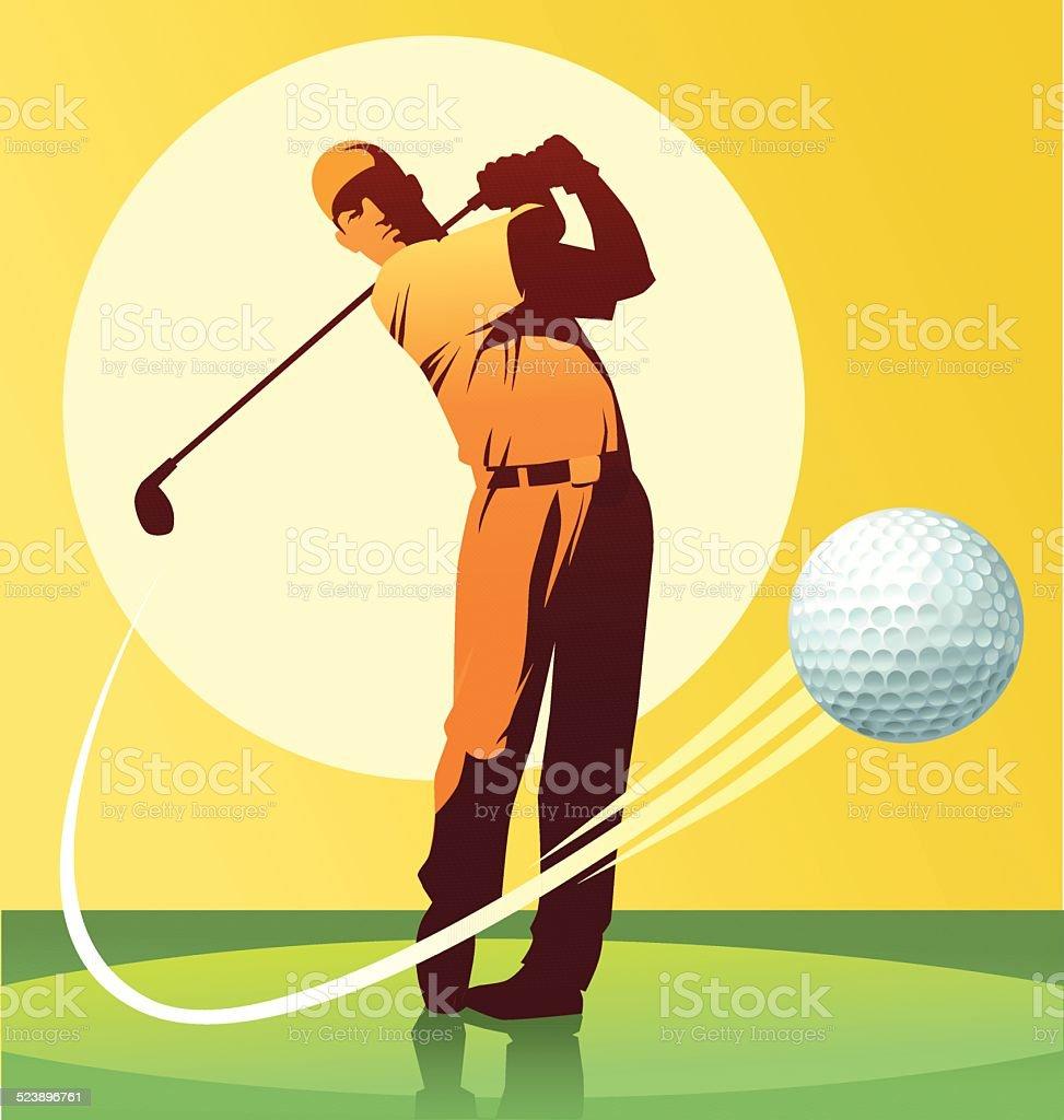 Ilustración de Golf Player Golpear La Pelota y más banco de imágenes ...