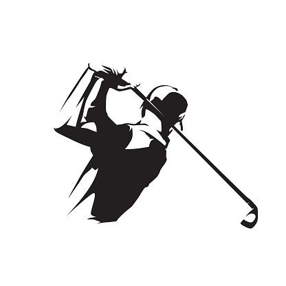Golf player icon, isolated vector silhouette. Golf swing