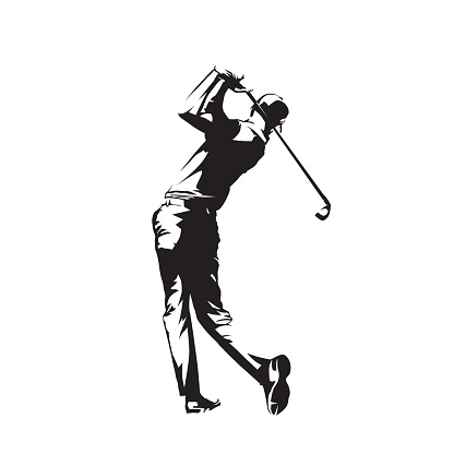 Golf player, isolated vector silhouette, golfer logo
