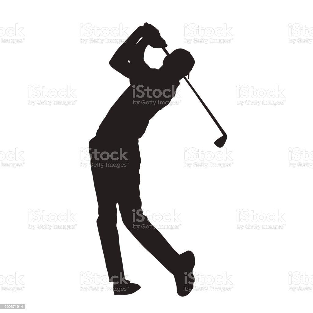 Silueta de vector aislado de jugador de golf - ilustración de arte vectorial
