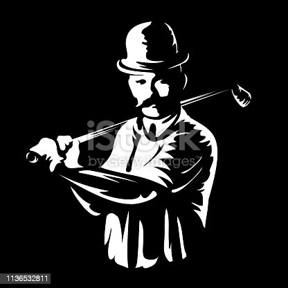 Golf player logo stamp or golfer man figure silhouette retro vintage emblem in old engraving vector art style white illustration isolated on black background Great for sport club sign or tshirt design