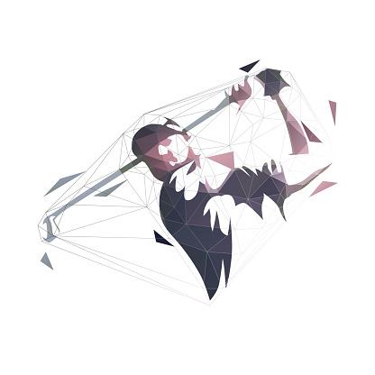 Golf player, low polygonal vector illustration. Golf swing icon