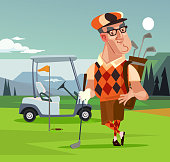 Golf player man character