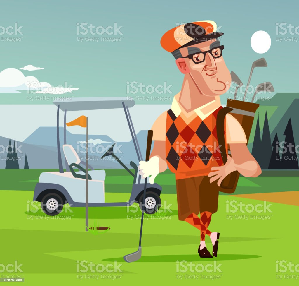 Golf player man character vector art illustration