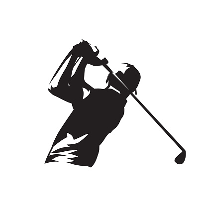 Golf player symbol, isolated vector silhouette