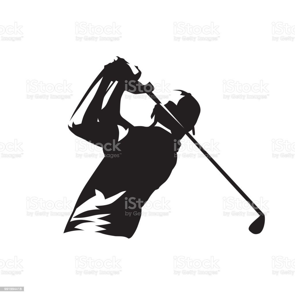 Símbolo del jugador de golf, silueta vector aislado - ilustración de arte vectorial
