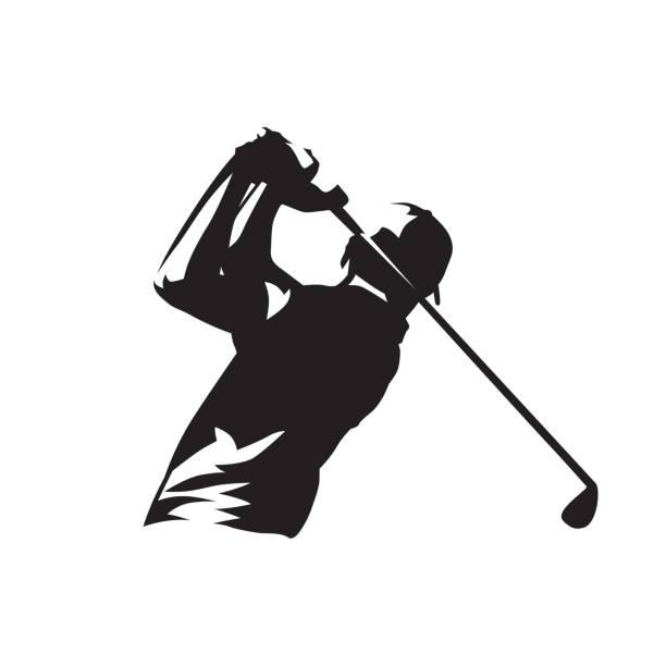 ilustrações de stock, clip art, desenhos animados e ícones de golf player symbol, isolated vector silhouette - golf