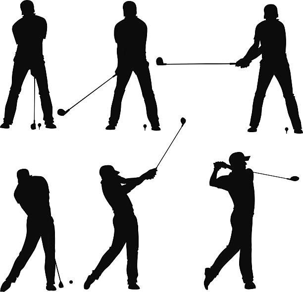 golf player teeing off silhouettes set vector art illustration