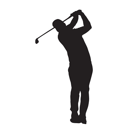 Golf player vector isolated silhouette, front view