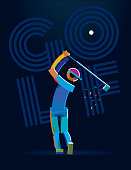 Golf Player. Vector color line pictogram