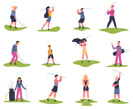 Golf players. People playing golf, golfers striking ball, outside summer activity, golf characters vector illustration set