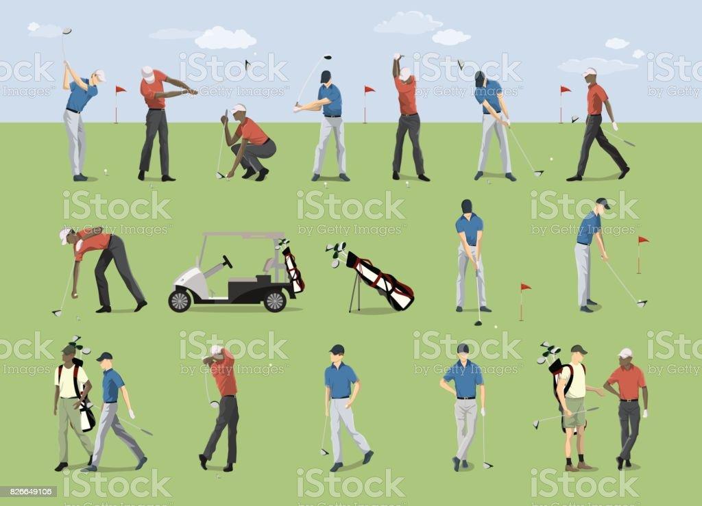 ゴルフ プレーヤーを設定します。 ベクターアートイラスト