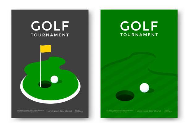 Golf poster design Golf tournament poster design template. Vector sport flyer green golf course stock illustrations