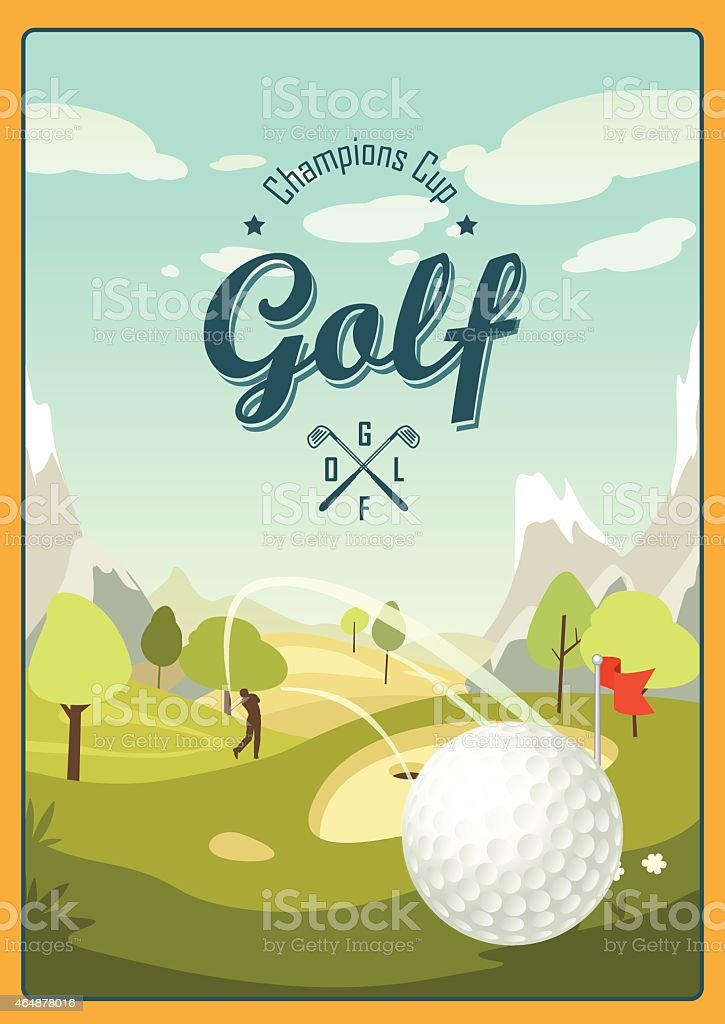 Golf poster in cartoon style with a landscape golf course. vector art illustration