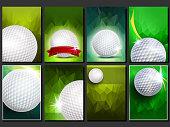 Golf Poster Set Vector. Empty Template For Design. Promotion. Golf Ball. Modern Tournament. Sport Event Announcement. Banner Advertising. Championship Blank Illustration