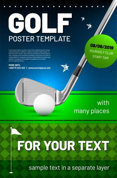 ilustrações, clipart, desenhos animados e ícones de modelo de cartaz de golfe com texto de exemplo - golfe