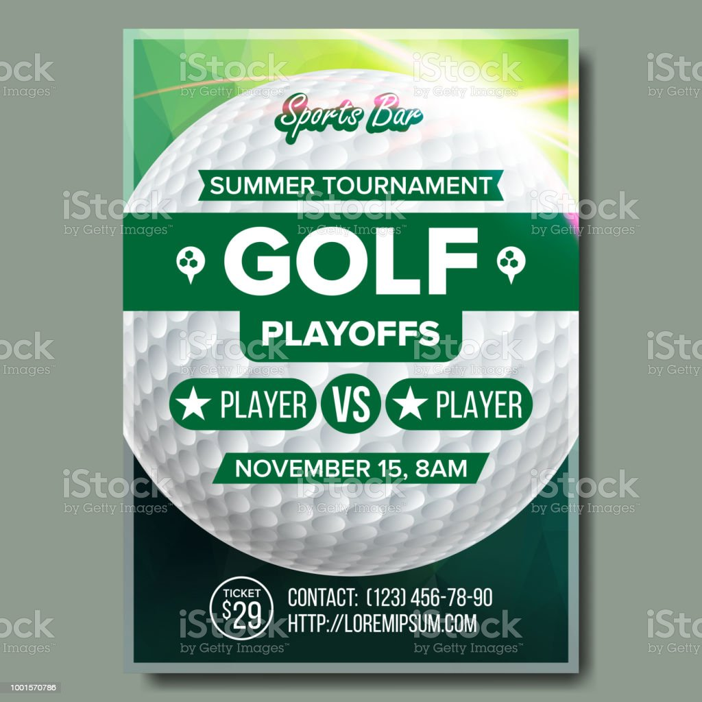 Golf Poster Vector Design For Sport Bar Promotion Golf Ball Modern Tournament A4 Size Championship Golf League Flyer Template Game Illustration Stock Illustration Download Image Now Istock