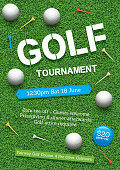Poster for a golf tournament with golf balls and tees on a green