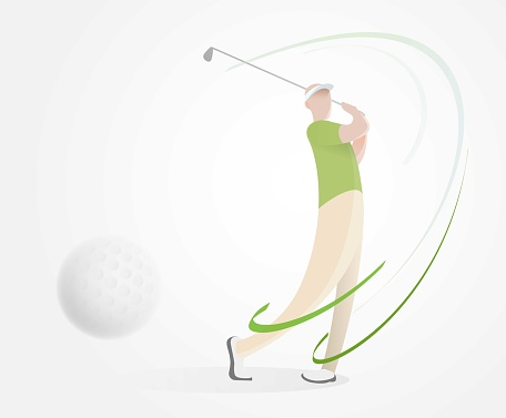golf poster with a female golf player hitting ball, golf car and flag on the golf lawn with text. Tournament theme. Landing page banner