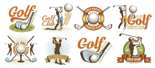 Golf retro logo with clubs balls and golfer