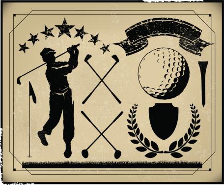 Golf Retro Poster Background Items, Golfer, Club, Sports Ball