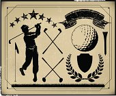 Golf Retro Poster Background Items, Golfer, Club, Sports Ball