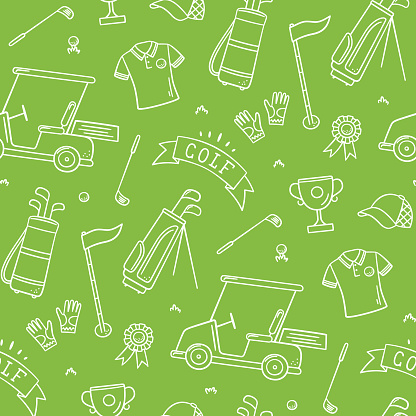 Golf seamless pattern - club, ball, flag, bag and golf cart in doodle style. Hand drawn vector illustration