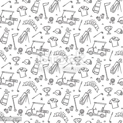 istock Golf seamless pattern - club, ball, flag, bag and golf cart in doodle style. Hand drawn vector illustration 1317362158