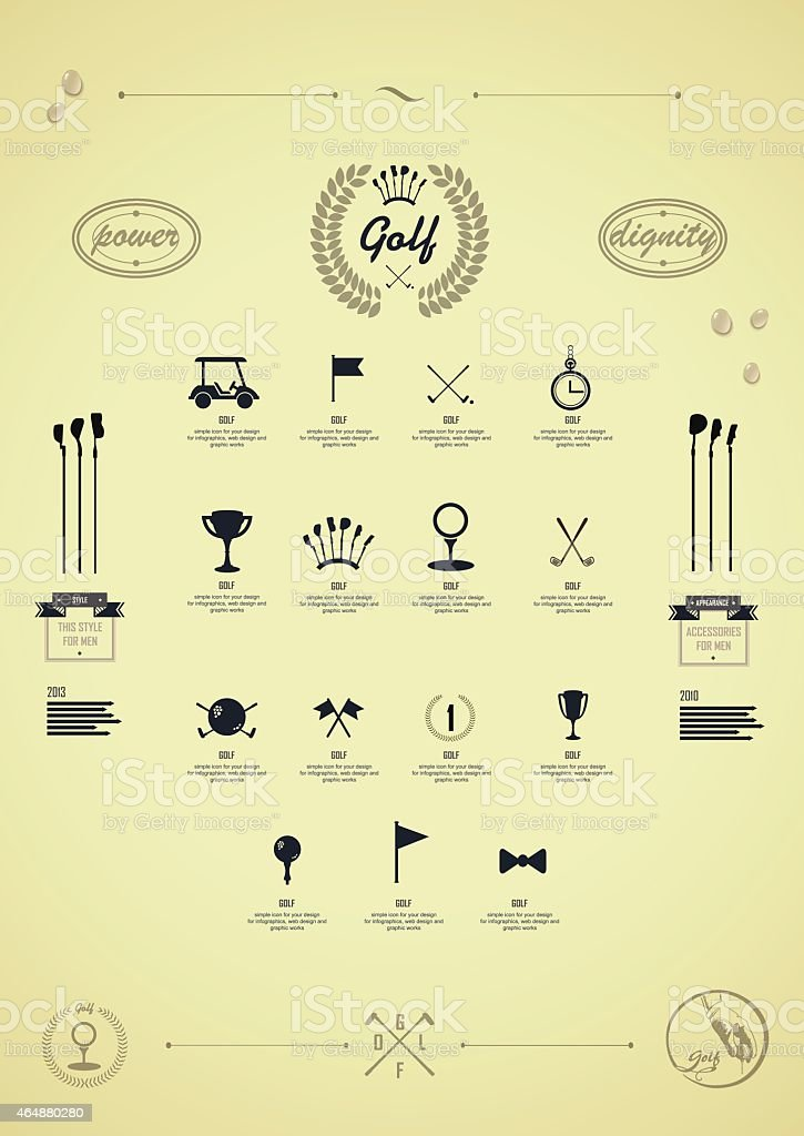 Golf. Set of vintage patterns. Logo for golf vector art illustration