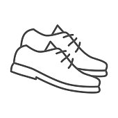 istock Golf shoes thin line icon, golf concept, Golfer boots sign on white background, shoes icon in outline style for mobile concept and web design. Vector graphics. 1256225519