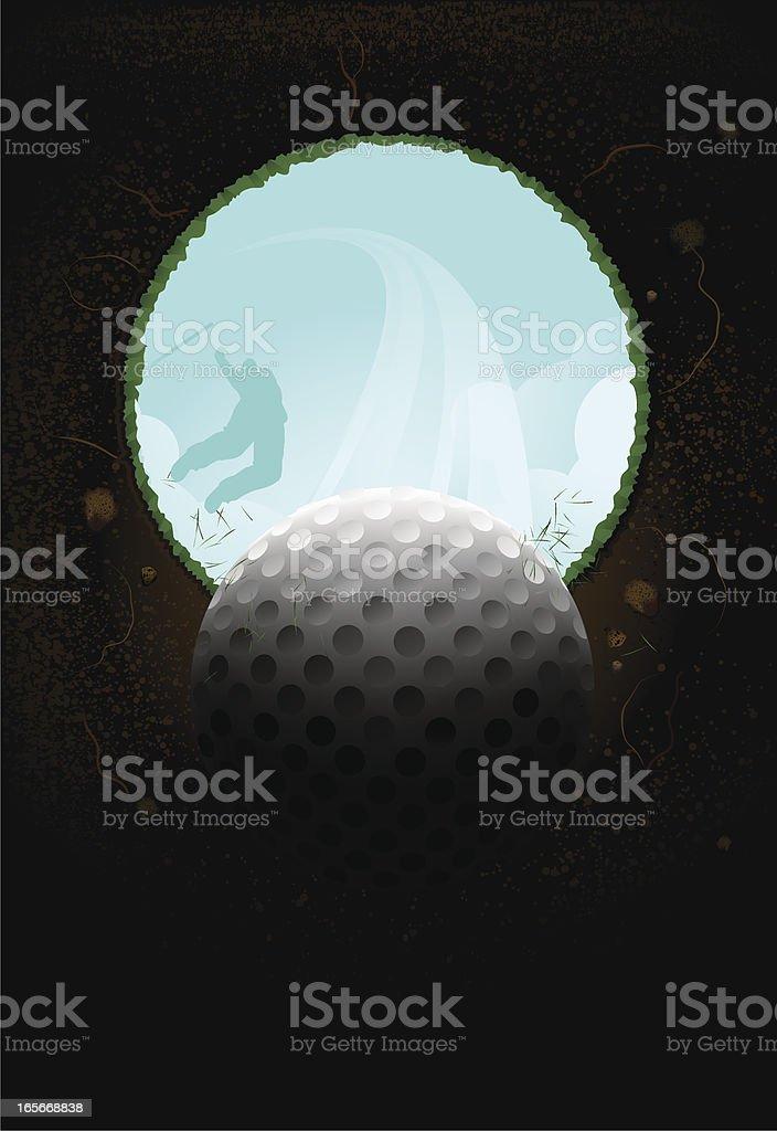 Golf shot low angle vector art illustration