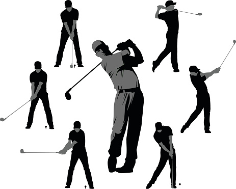 Golf Silhouettes - Set of Seven