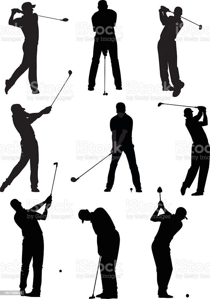 Golf Silhouettes Set vector art illustration