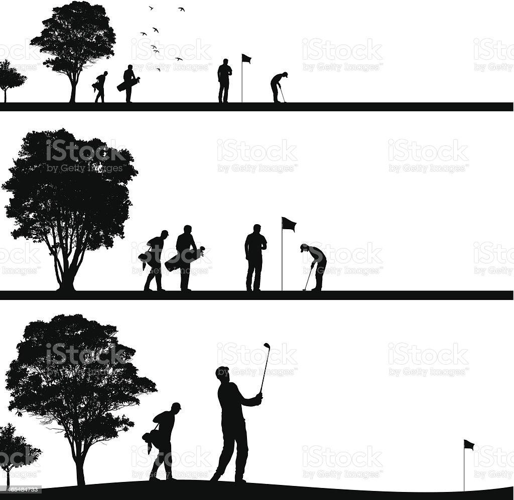 Golf silhouettes vector art illustration