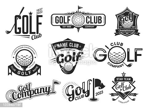 istock Golf sport club labels, team championship signs 1223407191