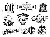 Golf club labels templates, team badges and championship vector icons. Premium golf club emblems set with ball and crossed clubs, stars and ribbons, golfer tournament on green course