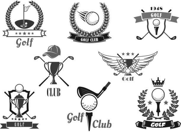 ilustrações, clipart, desenhos animados e ícones de símbolo de clube de esporte golfe definido pelo sporting projeto - golfe