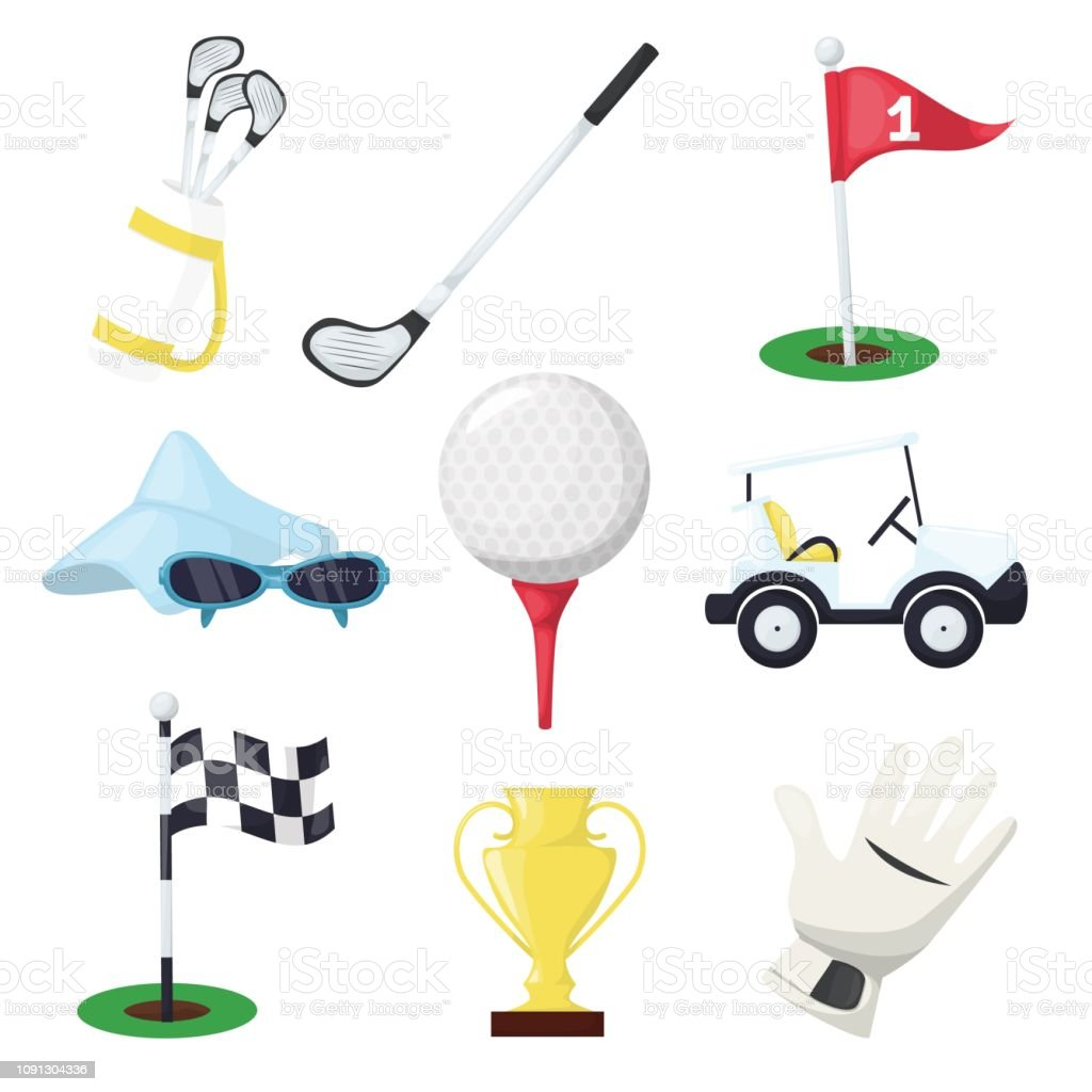 Golf sport equipment club stick, ball and hole on tee or cart car on...