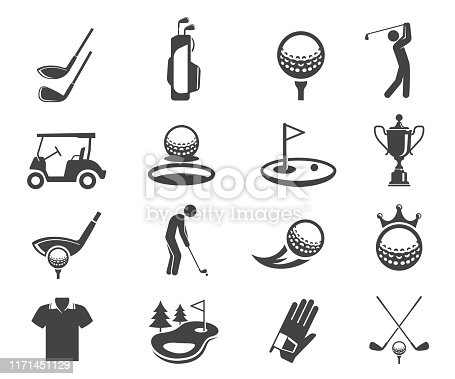 Golf sport game vector glyph icons set. Clubhead and balls silhouette symbols. Golf championship, professional clothes for playing isolated clipart collection. Entertainment activity design elements