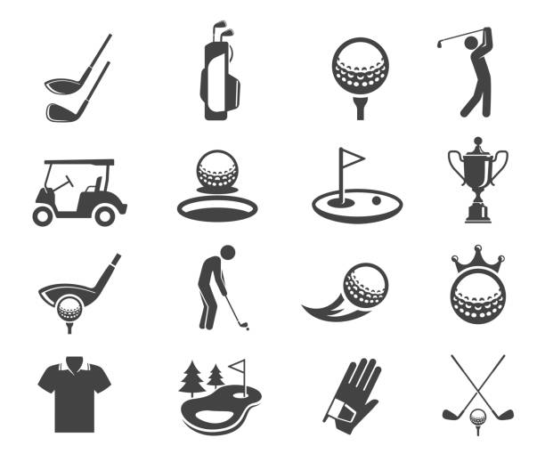 Golf sport game vector glyph icons set vector art illustration